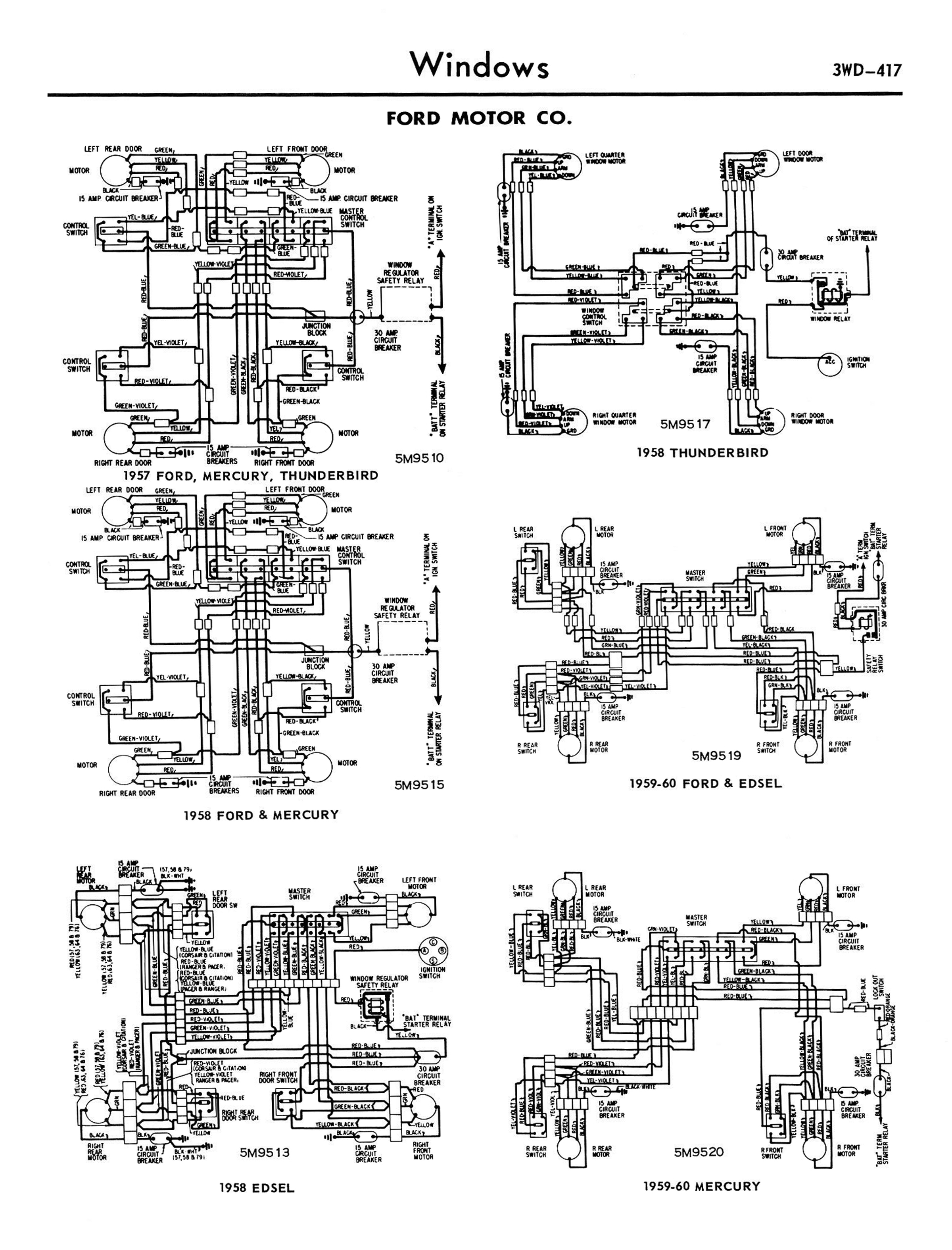 1958 68 Ford Electrical Schematics 165 Thunderbird Starter Wire Diagram 5