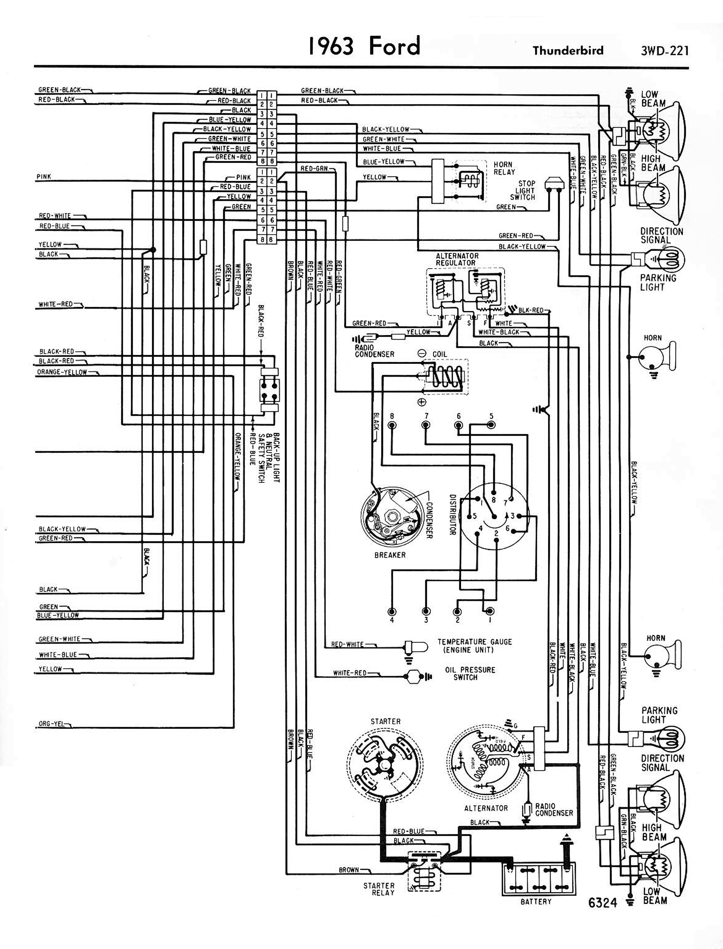 1962 ford t bird wiring diagram