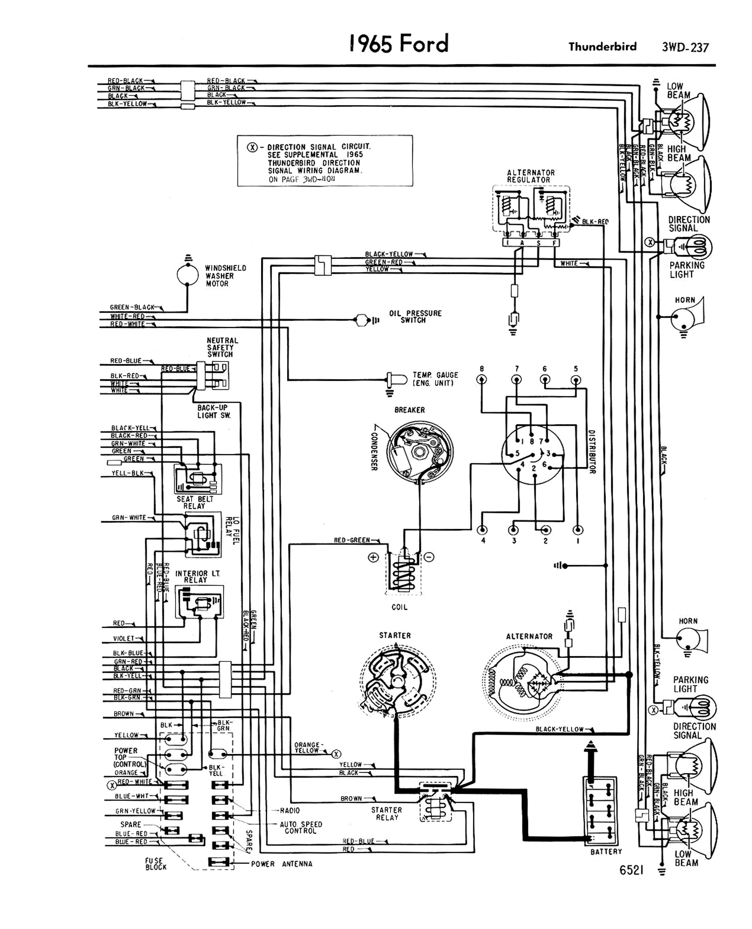 1958 68 ford electrical schematics rh squarebirds org 1965 ford thunderbird alternator wiring diagram 1965 thunderbird alternator wiring diagram