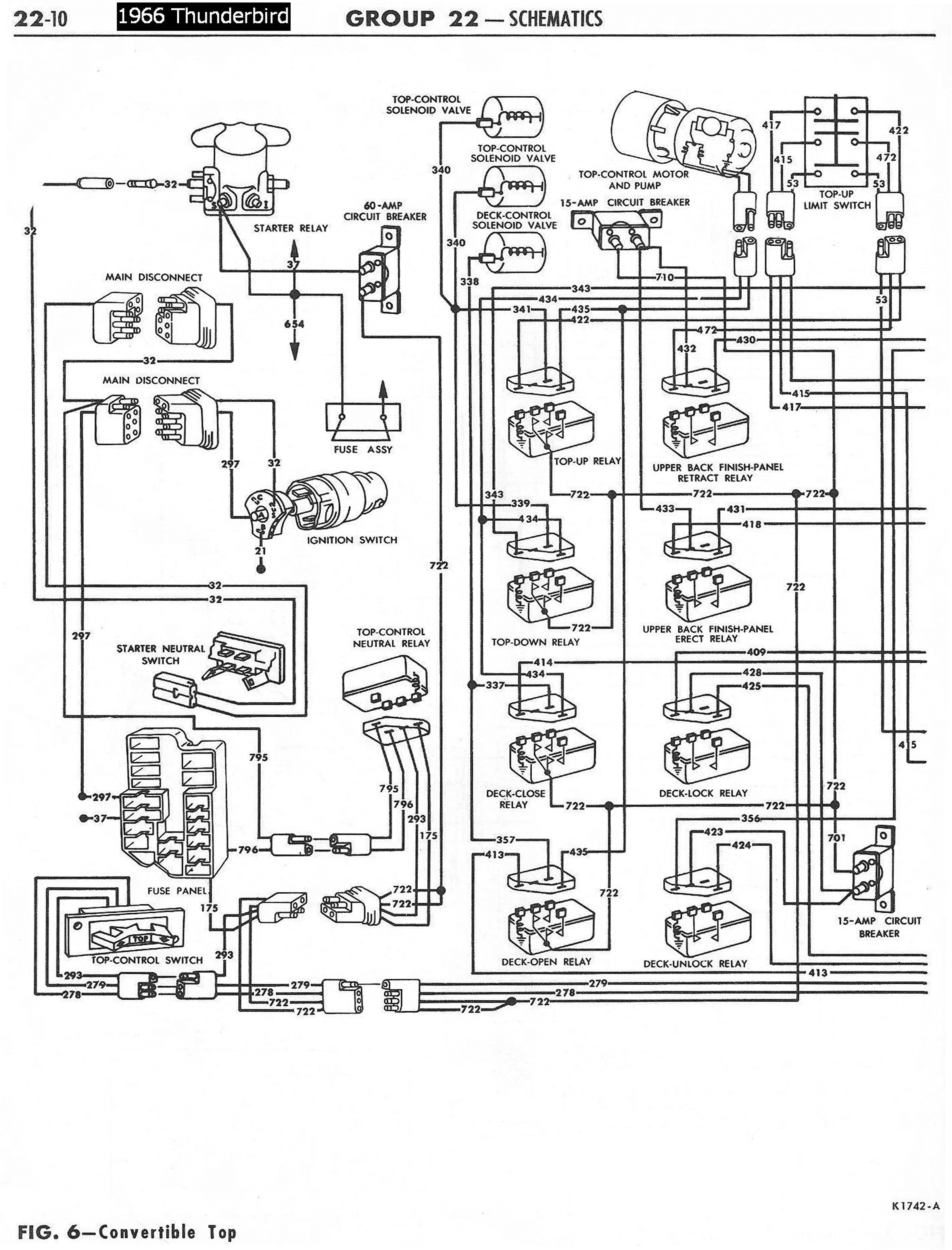 66TbirdConvertibleTopSchematicLeft 1958 68 ford electrical schematics 1957 Ford Wiring Diagram at fashall.co