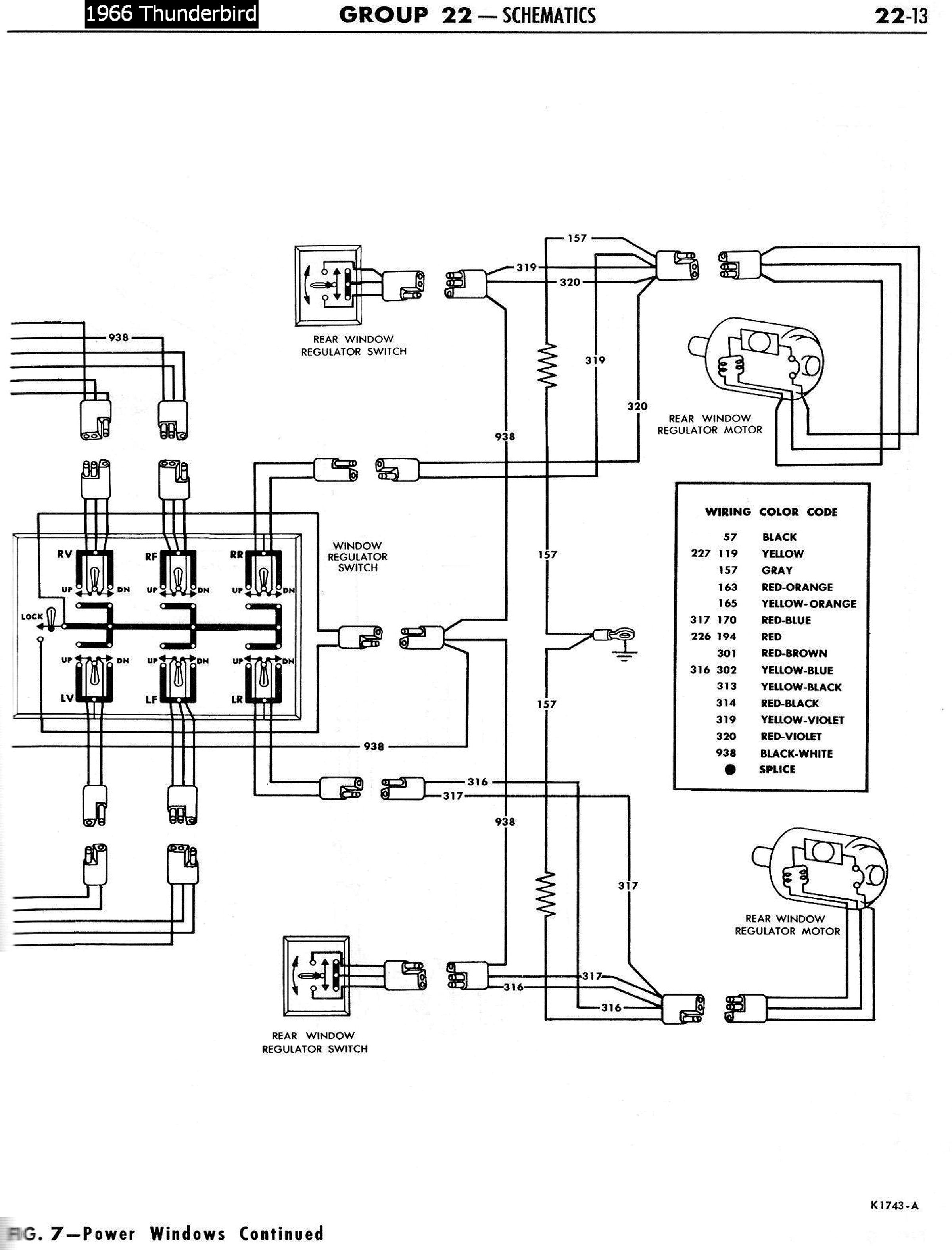 66TbirdPowerWindowsSchematicRight 1958 68 ford electrical schematics Equus Fuel Gauge Wiring Diagram at bakdesigns.co