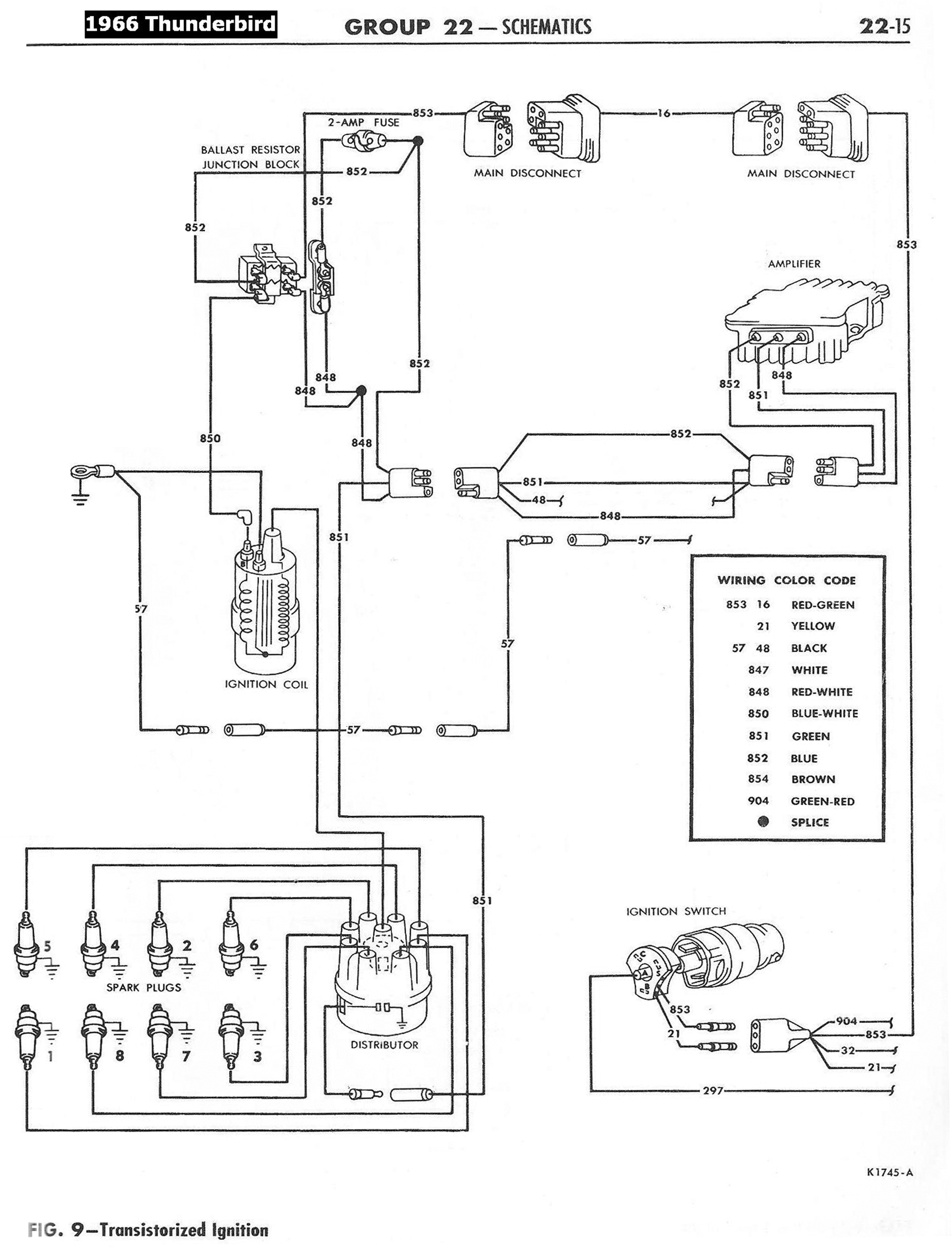 66TbirdTransistorizedIgnitionSchematic transistor type ignition squarebirds, rocketbirds, and fifties 66 Thunderbird Wiring Diagram at edmiracle.co