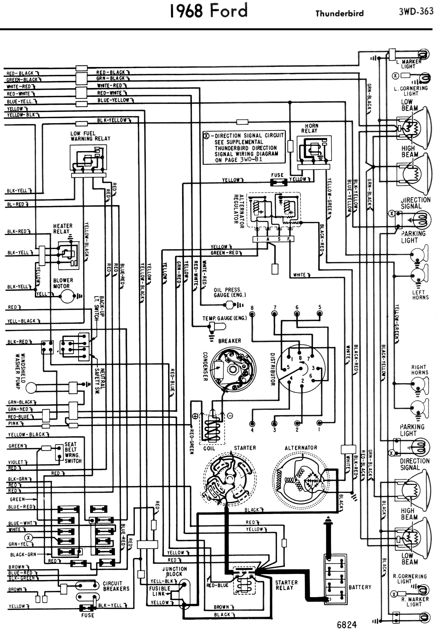 68_wiring_diagram RH 1958 68 ford electrical schematics 1965 thunderbird alternator wiring diagram at crackthecode.co